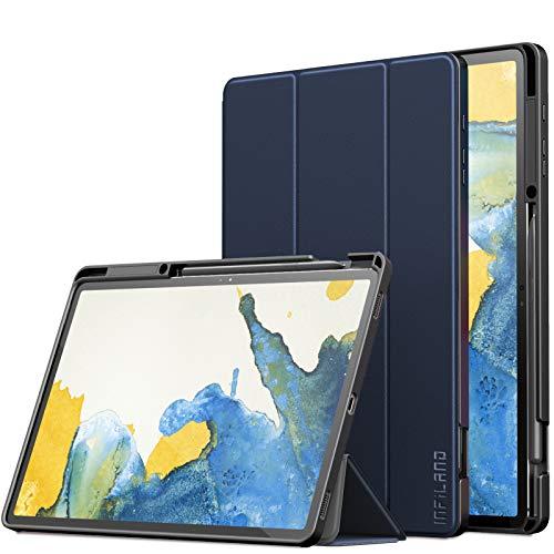 INFILAND Custodia per Samsung Galaxy Tab S7+/S7 Plus 12.4 Pollici (T970/T975/T976) 2020, Tri-Fold TPU Morbido Cover con Portapenne, Automatica Svegliati/Sonno, Marina Militare