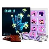 ウイルスから身を守る COVID-19, 13x13cm 1箱, Defend Yourself from the Virus COVID-19 (Black)