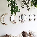 WEIQI Wallpaper Bois Moon Phase Miroir Bohème Décoration Murale pour Chambre décor scandinave Naturel Acrylique Miroirs Moonphase Design d'intérieur,Laiton