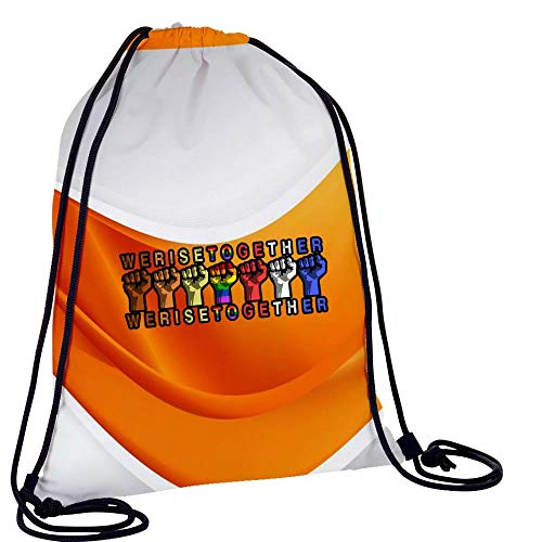 Large Casual String Backpack We Raise Together Training Hiking Gymsack