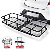 Hitch Mount Cargo Carrier | Cargo Carrier Hitch Mount Basket - 500lbs Folding Cargo Carrier Luggage Basket with Cargo Carrier Net & Hitch Stabilizer - Thick Steel Constructed Fits to 2' Receiver