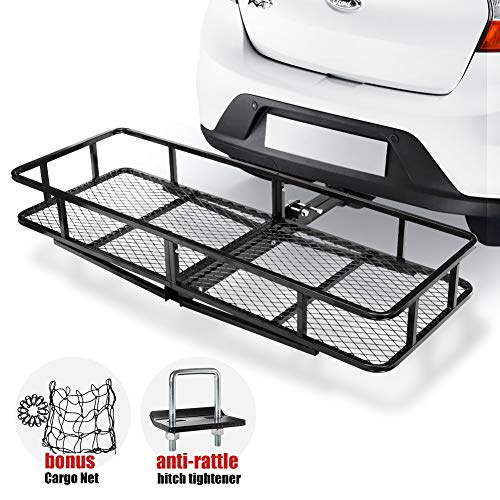 Hitch Mount Cargo Carrier   Cargo Carrier Hitch Mount Basket - 500lbs Folding Cargo Carrier Luggage Basket with Cargo Carrier Net & Hitch Stabilizer - Thick Steel Constructed Fits to 2' Receiver
