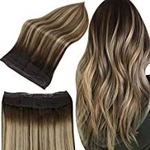 Full Shine Balayage Ombre Wire Hair Extension Remy Hair 14 inch Hidden Crown Extensions Human Hair Balayage Color 2/3/27 Honey Blonde Hair 70 Grams Invisible Fish Line