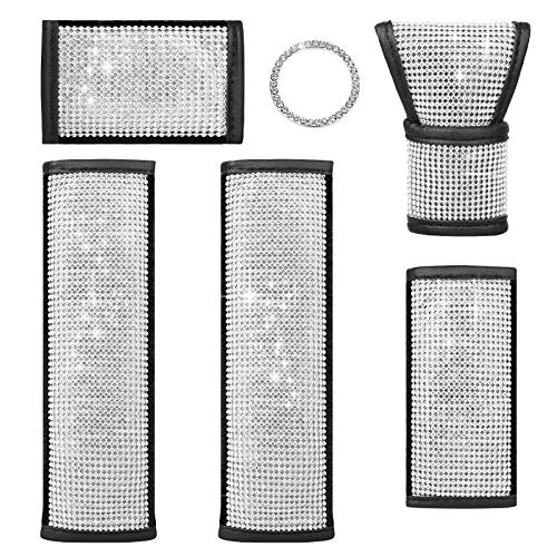 6PCS Crystal Diamond Car Accessories, 1 Bling Car Gear Shift Cover, 1 Handbrake Cover, 1 Handle Cover, 2 Car Seat Belt Covers and 1 Car Sticker Ring Emblem Bling Auto Interior Decor for Car Decoration