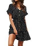 Imily Bela - Vestido de verano de manga corta para mujer con tira de botones, largo hasta la rodilla, elegante, con volantes, lunares y cinturón Negro XXL