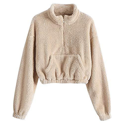 ZAFUL Women's Long Sleeve Hoodie Faux Fur Solid Color Crop Pullover Sweatshirt Tops (S, Light Khaki-Front Pocket)