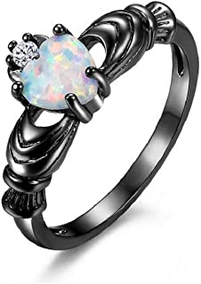 Black Rhodium Plated Cubic Zirconia Love & Promise Ring with Simulated Opal Heart Ring