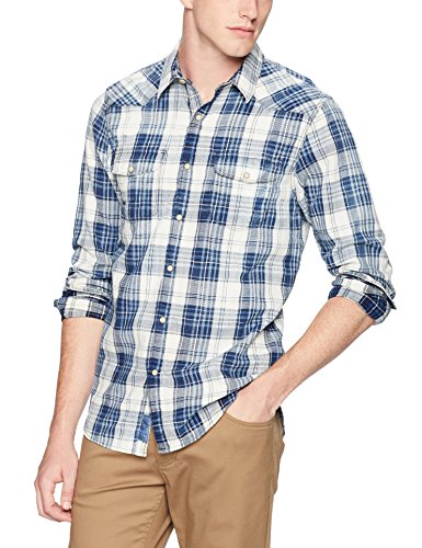 Lucky Brand Men's Casual Long Sleeve Plaid Button Down Western Shirt, Indigo/Natural, M