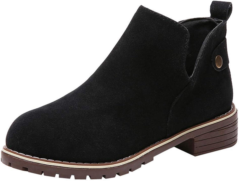 JaHGDU Vintage Women Round Toe Classic Black Non-Slip Cute Warm Simple shoes Flat Booties Hasp Suede Solid color Martin Boots