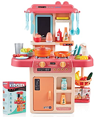 Surefect - Kitchen Play Set with Accessories- Mini Kitchen Set with Realistic Light Sound Steam Simulation- Indoor Games Kitchen Cooking Playset with Water Outlet- Toys for Toddlers Children & Girls