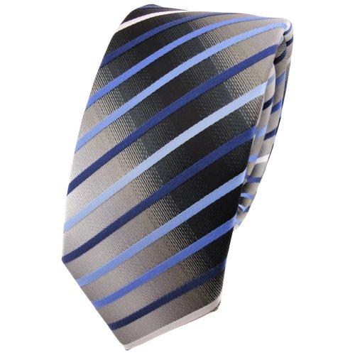 Schmale TigerTie Krawatte blau hellblau silber grau weiß schwarz gestreift - Schlips Binder Tie