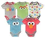 Sesame Street Boys' Short Sleeve Onesie Bodysuits Multi Pack Baby Costumes, Multicolored, 0-3 Months