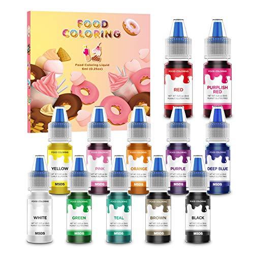 Colorante Alimentare Liquido 12 Colori Coloranti Alimentari Concentrati per Cuocere Decorare Dolci Panna Torte Uova