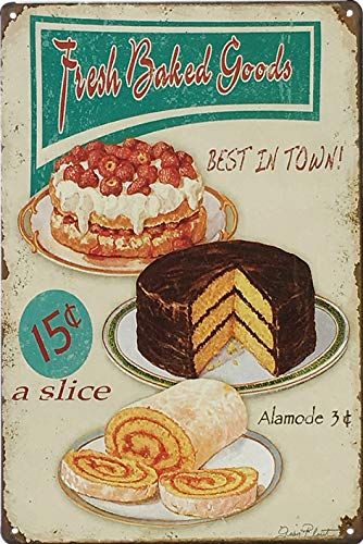 UNIQUELOVER Kitchen Signs Wall Decor Rustic, Fresh Baked Goods Best in Town Vintage Retro Metal Tin Sign Wall Plaque Poster 8 x 12 Inches, Small