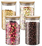 Lawei 4 Pack Glass Food Jars - 25 oz Glass Storage Jars