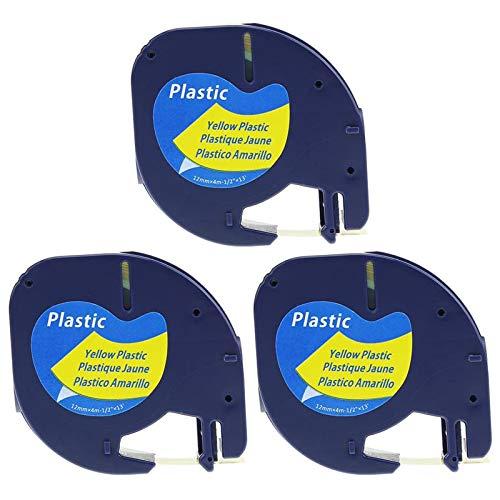 Anycolor kompatible Schriftband Ersatz für Dymo Letratag Plastik Gelb Etikettenband, 12mm x 4m 91222 S0721620 für Etikettendrucker LT-100H lt-100t lt-110t QX 50 XR XM 2000 Plus, 3er-Pack