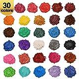 AOND 30 Couleurs Colorant résine époxy, Pigment résine époxy, Colorant de Savon, Poudre Mica Naturel métallique (30x5g), Maquillage, Peinture, Slimes, Poudre Acrylique pour Ongles, Colorant Gloss
