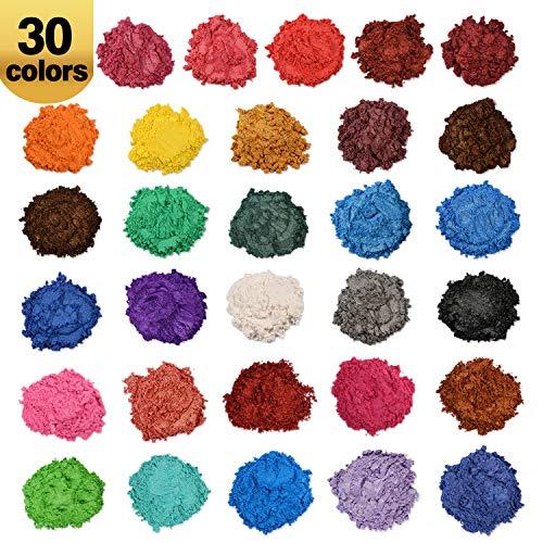 Wtrcsv Epoxidharz Farbe metallic 150g(30er×5g), Mica Powder Epoxy Resin Farbe Farben Pigment Pigmente Pigmentpulver Farbpigmente für Epoxidharz, 30 Farben(Blau Schwarz.)