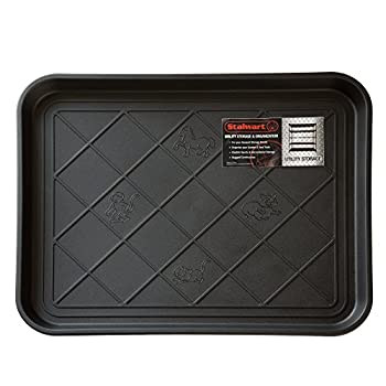 Stalwart 75-ST6013 All Weather Boot Tray – Water Resistant Plastic Utility Shoe Mat – Indoor Outdoor Doormats for Use in All Seasons Small Black