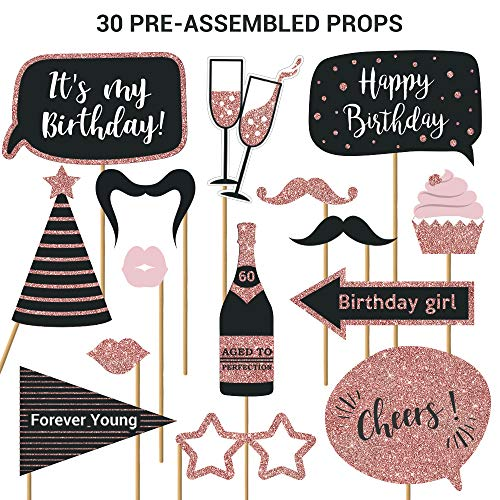 Fully Assembled Birthday Photo Booth Props. 30 Piece Box Set of Rose Gold and Pink Selfie Party Supplies and Decorations Kit with Real Glitter. Original Cute Bday Designs For Women Need No DIY.