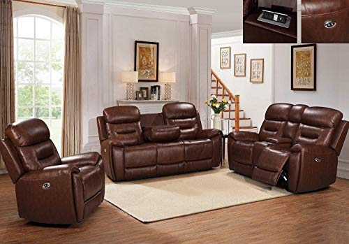 Hollywood Decor Pavia 3 Pieces Living Room Reclining Sofa Set in Brown Top Grain Leather Match