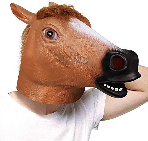 ASEDRF Bar Cos Lustige Pferdemaske, Lustige Pferdekopf-Maske, Creepy Pferdemaske, Tiermaske Neuheit Halloween Kostüme, Brown-Pferd Für Erwachsene Und Kinder