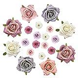 Cabezas de Rosas, Cabezas de Flores de Seda Rosa Rosas Falsas para Bricolaje Boda Fiesta Sombrero Ropa Decoración 20 Piezas (4 cm, 7 cm)