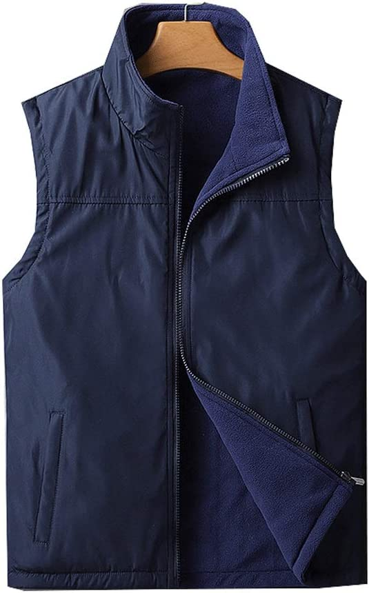 Men's Warm Vest, Polyester Thicken Vest Winter Outdoor Zipper Polar Fleece Sleeveless Jacket Can Be Worn On Both Sides (Color : Dark Blue, Size : XXXX-Large)