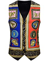 ief.G.S Men's Paisley Casual Printed Suit Vest, Dress Vest for Party Ball Wedding Night Club