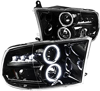 For Dodge RAM 1500 2500 3500 Pickup Jet Black LED Dual Halo Projector Headlights