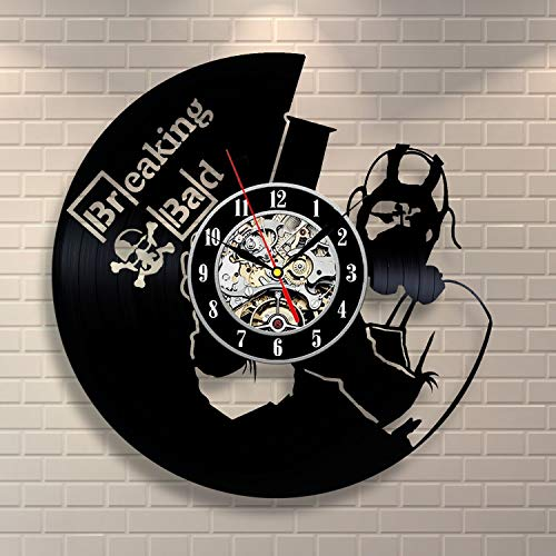 La Bella Casa Breaking Bad Design Vinyl Wall Clock Vintage Gift Best Gift Idea Sympathy Present Valentines Gift for Lover New House Present for Men Women for Teens Youth Him Her