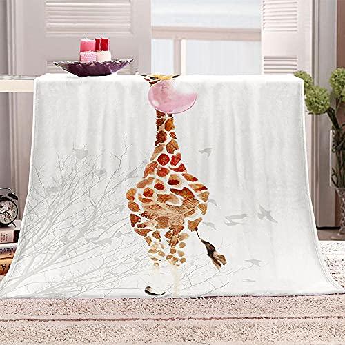 Flanelldecke Kuscheldecke Giraffe bläst Seifenblasen Sherpa Decke 3D Gedruckt Warm Flauschige Decke TV-Decke Sofadecke Wohndecke Tagesdecke Kinderdecken 100x130cm