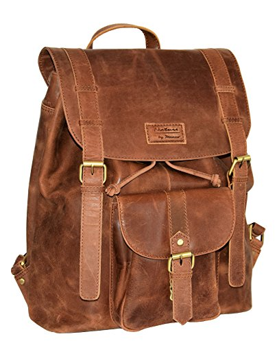 Menzo Leder-Rucksack aus echten Büffelleder, Ideal für die Arbeit, Schule, Urlaub und Handgepäck, Backpack