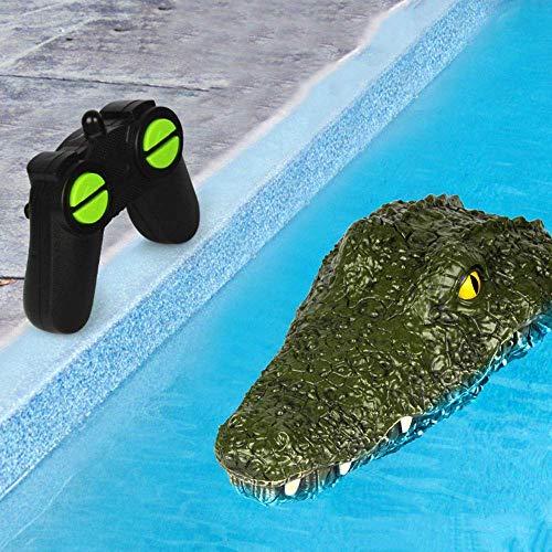 Control remoto Coche, Niños Control Remoto Car 2.4G 4 canales Cocodrilo Animal Control Remoto Barco Speed Boat Boy Funny Tricky Simulación Cocodrilo Modelo de juguete para piscinas al aire libre, La