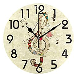 Naanle Chic Treble Clef Pattern Musical Note Print Round Wall Clock, 9.5 Inch Battery Operated Quartz Analog Quiet Desk Clock for Home,Office,School