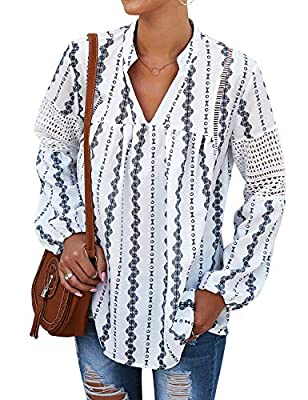 Ezcosplay Women V Neck Long Sleeve Boho Peasant Blouse Chiffon Floral Tunic Top White