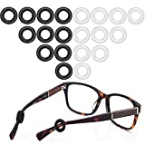MOLDER Silione Eeglasses Temple Tip Sleeve Retainer ,Anti-Slip Round Comfort Glasses Retainers For Spectacle Sunglasses Reading Glasses Eyewear, 10 Pairs (Black,Clear)