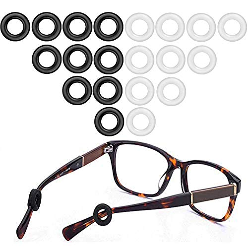 MOLDERP Eyeglasses Temple Tips Eyewear Retainer, glasses Retainers, 10 Pairs (Black?Clear)