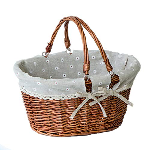 ZHIQ Willow Picnic Basket Hamper with Lid Woven Handmade Rectangular Wicker Double Drop Down Handles Gift Storage Box Easter Basket for Camping Halloween Costume Brown