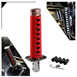 RYANSTAR Gear Shift Knob Sword Shift Knobs Katana Samural Shift Gear Lever Universal Fit for Manual Cars Most Automatic Cars with 4 Adapters Red + Black