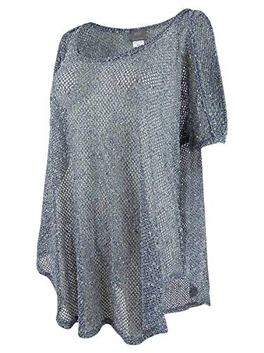 Elif Women's Crochets Sheer Cold Shoulder Tunic Swim Cover Up Petrol M