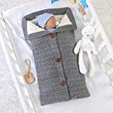 mimixiong Unisex Infant Swaddle Blankets Soft Thick Fleece Knit Baby Girls Boys Stroller Wraps Baby Accessory Grey