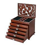 JIANGCJ Bella Caja de joyería Caja de joyería de Madera con Talla Floral joyería de joyería de 6 Capas Regalo Organizador para Seres Queridos