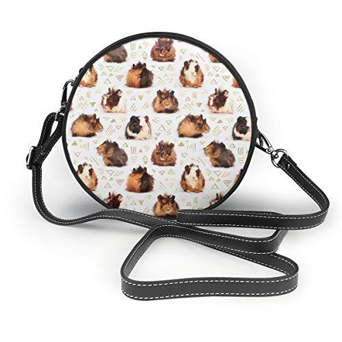 Bolso bandolera elegante con diseño de cobayas, bolso redondo pequeño impermeable