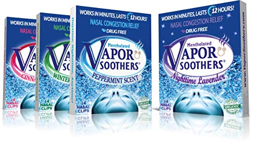 Vapor Soothers 4-Scent Variety Pack (Peppermint, Wintergreen, Cinnamon, Lavender), 56 Count, Drug-Free, Instant Nasal Congestion Relief