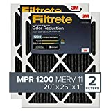 Filtrete 20x25x1, AC Furnace Air Filter, MPR 1200, Allergen Defense Odor Reduction, 2-Pack (exact dimensions 19.688 x 24.688 x 0.84)