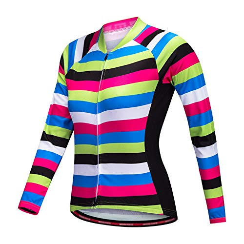 Womens ciclismo Jersey Maillot de ciclismo Summer Stripe for mujer, mangas cortas,...