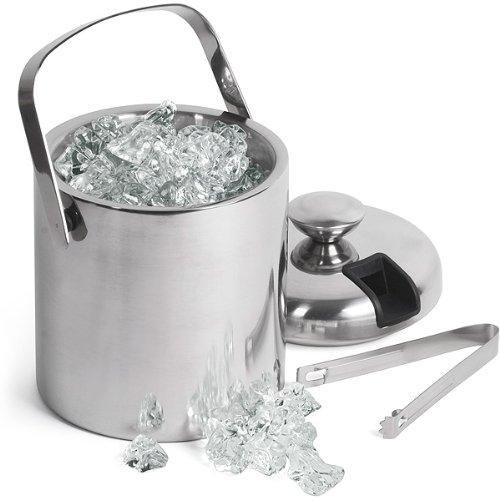 bar@drinkstuff Seau à glace 1,5 litre, double paroi en inox, avec pince à l'intérieur et couvercle