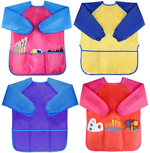 Pack of 4 Kids Art Smocks, Children Waterproof Artist Painting Aprons Long Sleeve with 3 Pockets for Age 2-6 Years