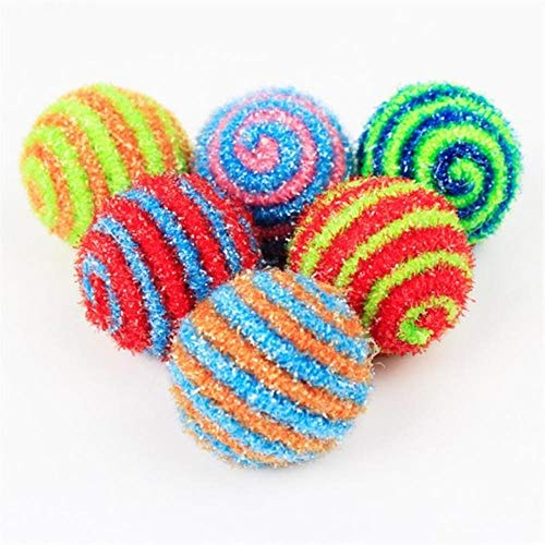 MAOJIU Interactive Cat Toy, Elasticity Rope Cat Toys Ball Stripe Design Kitten Bouncy Ball Toy Pet Products Dog Or Cat Chasing Toy, The Best Entertainment Exercise Gift for Your Kitty,1pc Random